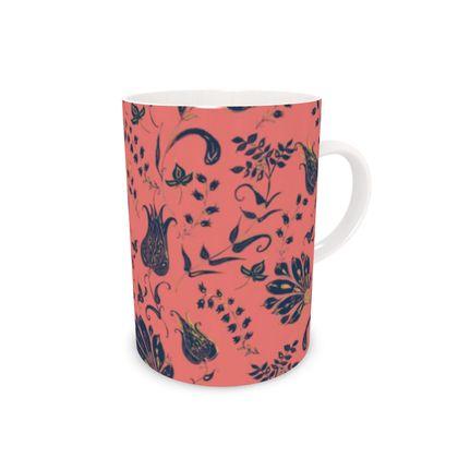 Floral Paradise Patterns (Coral & Blue) Bone China Mug
