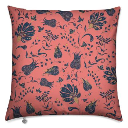 Floral Paradise Patterns (Coral & Blue) Cushion