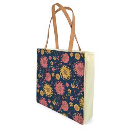 Multi-Florals (Coral & Blue) Shopper Bag