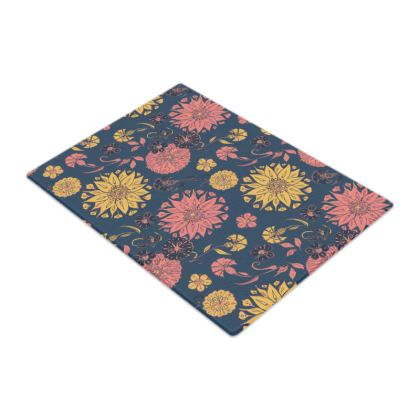 Multi-Florals (Coral & Blue) Glass Chopping Board