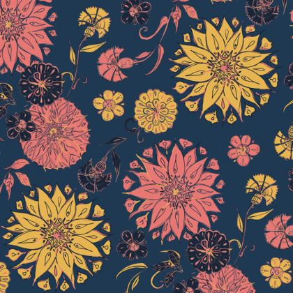 Multi-Florals (Coral & Blue) Coasters