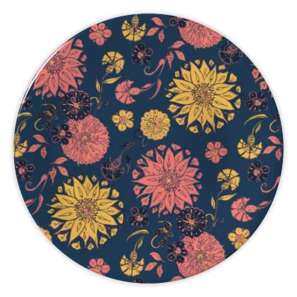 Multi-Florals (Coral & Blue) China Plate