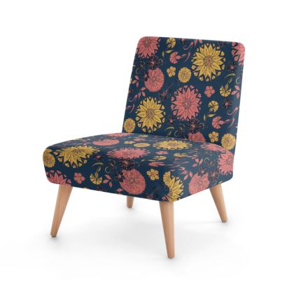 Multi-Florals (Coral & Blue) Occasional Chair