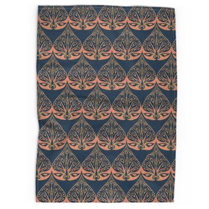 Art Deco (Coral & Blue) Tea Towel