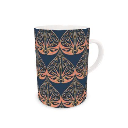 Art Deco (Coral & Blue) Bone China Mug