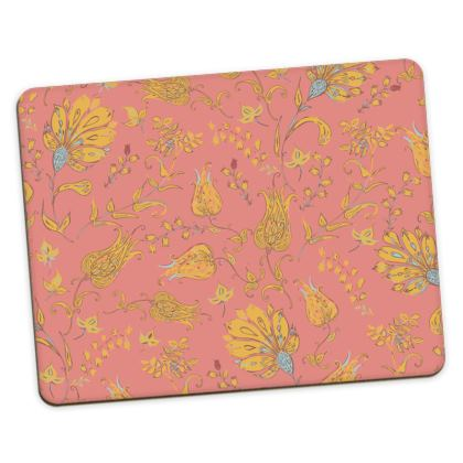 Floral Paradise Patterns (Coral & Yellow) Placemats