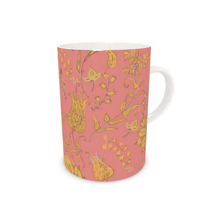 Floral Paradise Patterns (Coral & Yellow) Bone China Mug