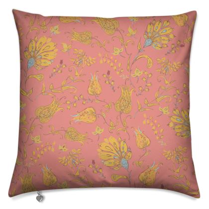 Floral Paradise Patterns (Coral & Yellow) Cushion