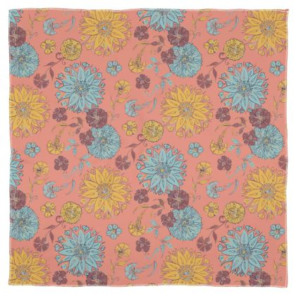 Multi-Florals (Coral & Yellow) Scarf Wrap or Shawl
