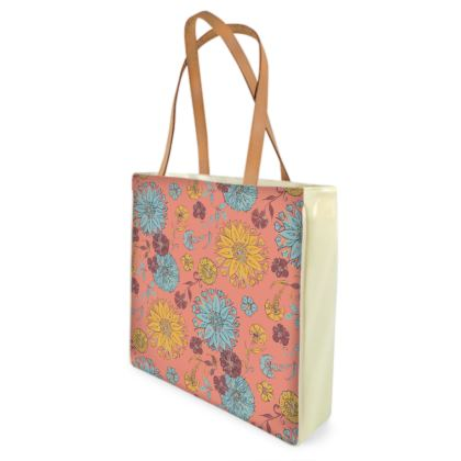Multi-Florals (Coral & Yellow) Shopper Bags