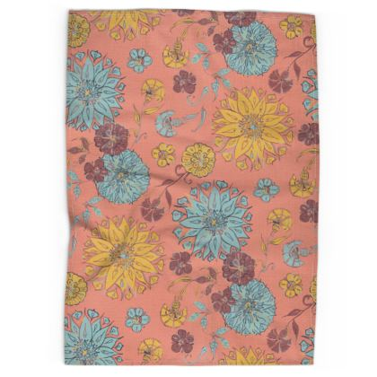Multi-Florals (Coral & Yellow) Tea Towel