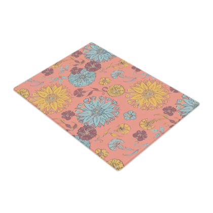 Multi-Florals (Coral & Yellow) Glass Chopping Board