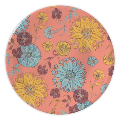 Multi-Florals (Coral & Yellow) China Plate