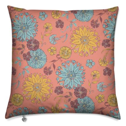 Multi-Florals (Coral & Yellow) Cushion