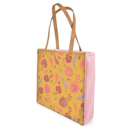 Patterns of Paradise (Yellow & Coral) Shopper Bags