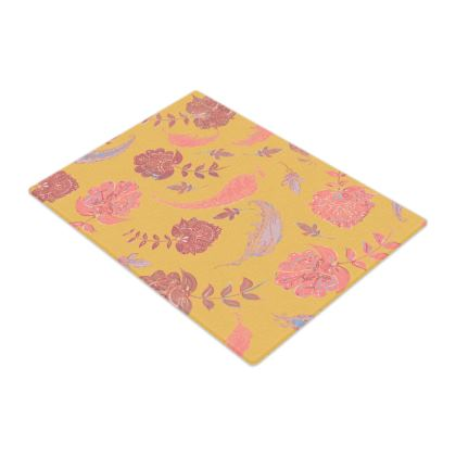 Patterns of Paradise (Yellow & Coral) Glass Chopping Board