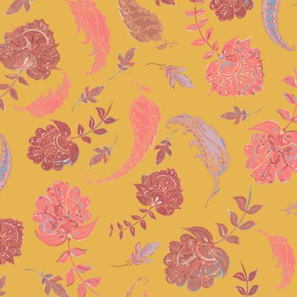 Patterns of Paradise (Yellow & Coral) Coasters