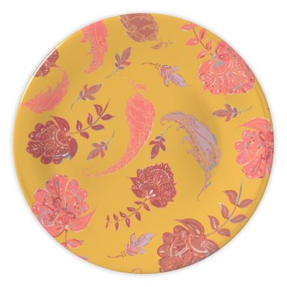 Patterns of Paradise (Yellow & Coral) China Plate