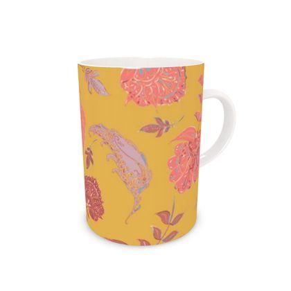 Patterns of Paradise (Yellow & Coral) Bone China Mug