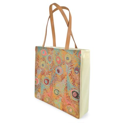 Peacock Feathers (Soft Coral) Shopper Bag