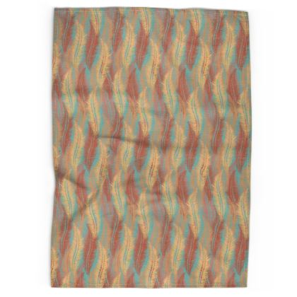 Feathers Stripe (Soft Coral) Tea Towel