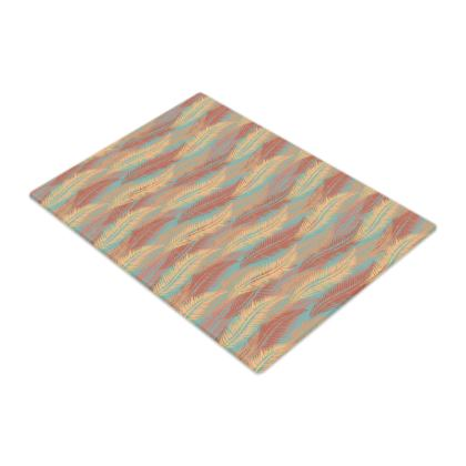 Feathers Stripe (Soft Coral) Glass Chopping Board