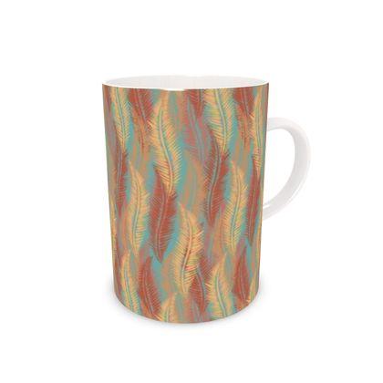 Feathers Stripe (Soft Coral) Bone China Mug