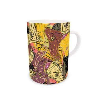 Butterfly Wings (Bold Yellow) Bone China Mug
