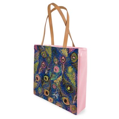 Peacock Feathers (Bold Blue & Pink) Shopper Bags