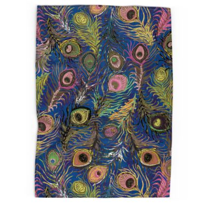 Peacock Feathers (Bold Blue & Pink) Tea Towel