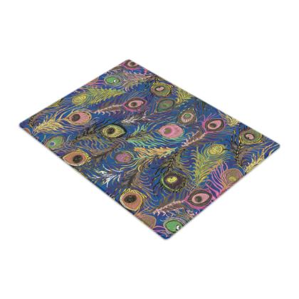 Peacock Feathers (Bold Blue & Pink) Glass Chopping Board