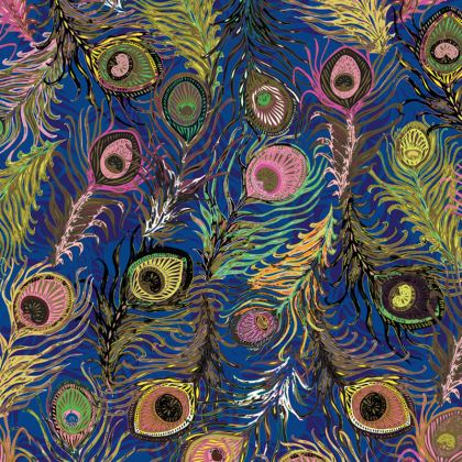 Peacock Feathers (Bold Blue & Pink) Coasters