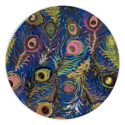 Peacock Feathers (Bold Blue & Pink) China Plate