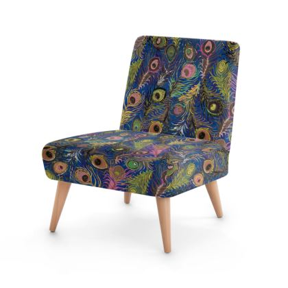 Peacock Feathers (Bold Blue & Pink) Occasional Chair