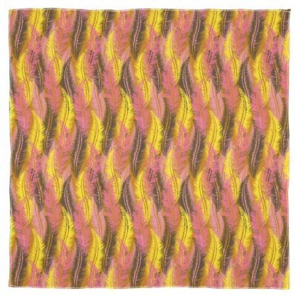 Feathers Stripe (Bold Yellow & Pink) Scarf Wrap or Shawl