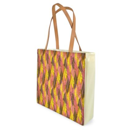 Feathers Stripe (Bold Yellow & Pink) Shopper Bags