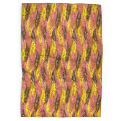 Feathers Stripe (Bold Yellow & Pink) Tea Towel