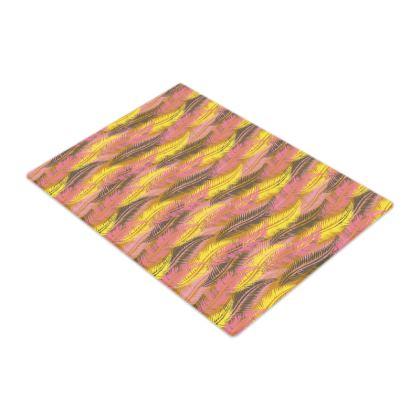 Feathers Stripe (Bold Yellow & Pink) Glass Chopping Board