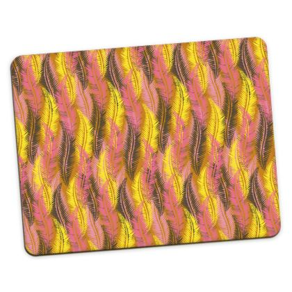 Feathers Stripe (Bold Yellow & Pink) Placemats