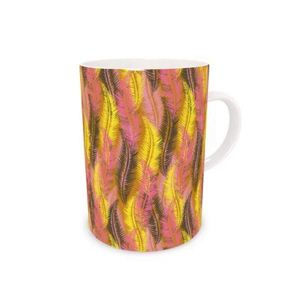 Feathers Stripe (Bold Yellow & Pink) Bone China Mug
