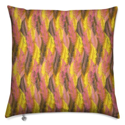 Feathers Stripe (Bold Yellow & Pink) Cushion