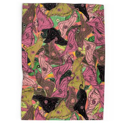 Butterfly Wings (Fresh Pink & Lime) Tea Towels