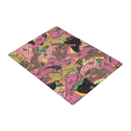 Butterfly Wings (Fresh Pink & Lime) Glass Chopping Board