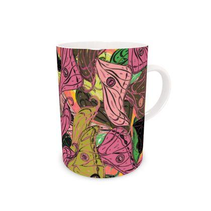 Butterfly Wings (Fresh Pink & Lime) Bone China Mug