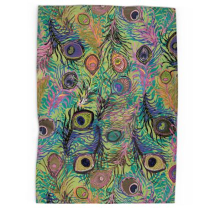 Peacock Feathers (Lime Green) Tea Towel