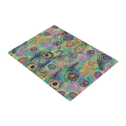 Peacock Feathers (Lime Green) Glass Chopping Board