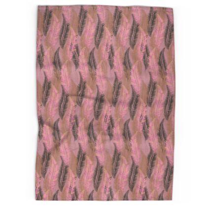 Feathers Stripe (Soft Pink) Tea Towel