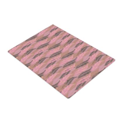 Feathers Stripe (Soft Pink) Glass Chopping Board