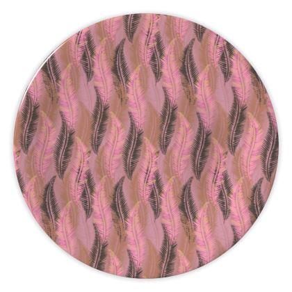 Feathers Stripe (Soft Pink) China Plate