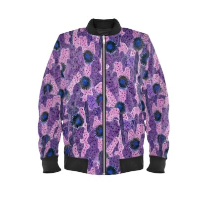Cacti Camouflage Blooming Succulents Purple Ladies Bomber Jacket